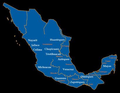 Carte des civilisations et des cultures précolombiennes du Mexique